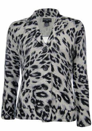 Cashmere Print Cardigan - Sutton Studio Women's 100% Cashmere Leopard Sweater Jacket PS