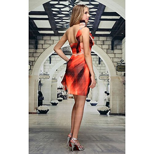 Damen Festamo Orange Cocktail Ital Mini bei Design Für Kleid S1Sav