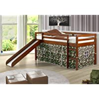 Twin Tent Loft Bed with Slide and Slats