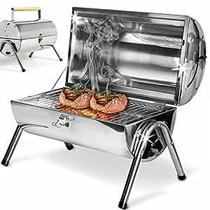 Bakaji barbacoa de mesa con rejilla de acero inoxidable parrilla a carbón, con doble zona de cocción, portátil ideal para jardín Pic Nic