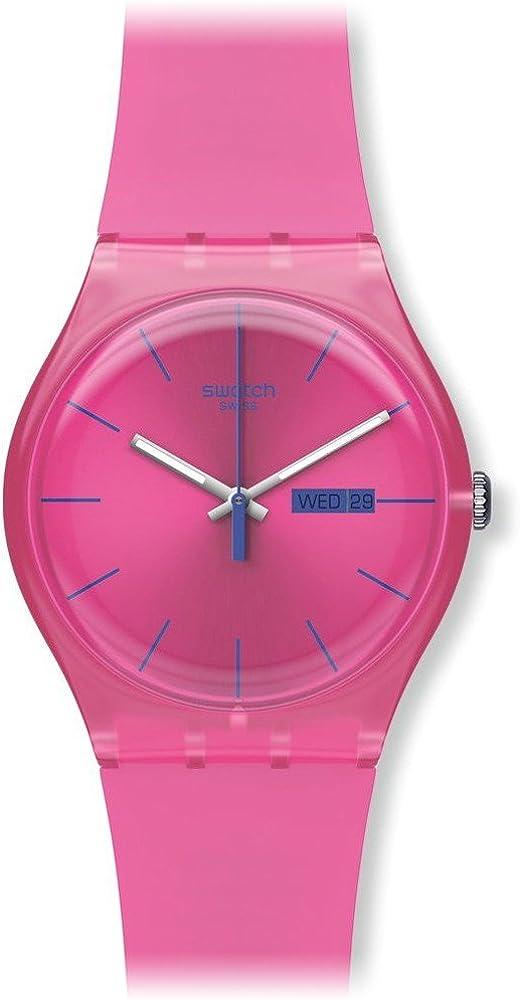 Swatch suop700–Reloj de Pulsera de Mujer, Correa de Silicona Color Rosa