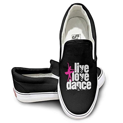 SH-rong Live, Love, Dance Unisex Canvas Sneakers Shoes Size 36 Black