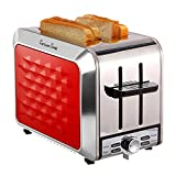 Fortune Candy 2 Slice Toaster, Compact Stainless Steel Toaster 2 Slice with 7 Toast Shade Settings, Bagel/Defrost/Reheat/Cancel Function, Extra Wide Slots, Removable Crumb Tray, Red For Sale