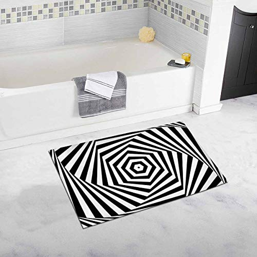 InterestPrint Black and White Swirls Hexagonal Twist Abstract Stripes Home Decor Non Slip Bath Rug Set Absorbent Floor Mats for Bathroom Tub Bedroom Large Size 20 x 32 -