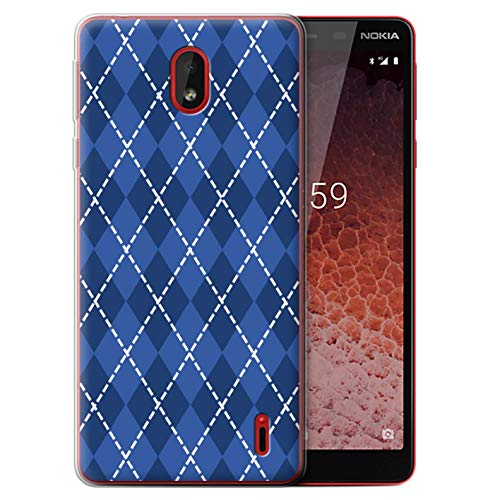 (eSwish Gel TPU Phone Case/Cover for Nokia 1 Plus 2019 / Winter Argyle Design/Blue Fashion Collection)