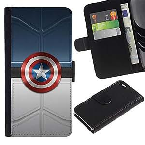 """A-type (América Super Héroe Sheild"""") Colorida Impresión Funda Cuero Monedero Caja Bolsa Cubierta Caja Piel Card Slots Para Apple iPhone 5 / iPhone 5S"""
