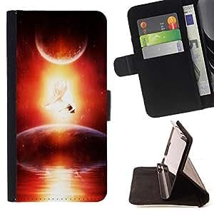 BullDog Case - FOR/Samsung Galaxy A3 / - / universe cosmos space ship alien planet art /- Monedero de cuero de la PU Llevar cubierta de la caja con el ID Credit Card Slots Flip funda de cuer