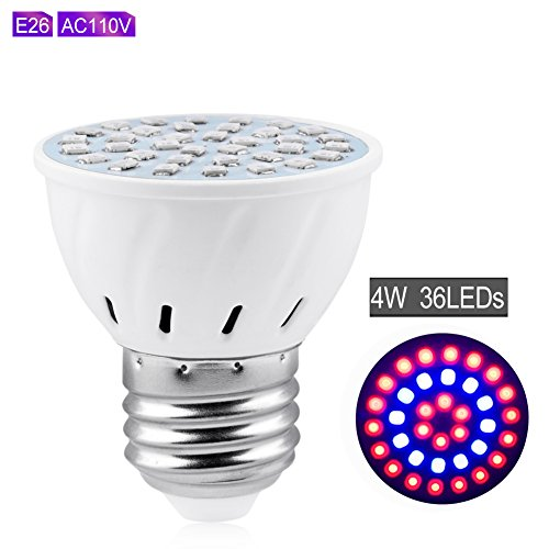 YCDC Wide Spectrum 4W E26 LED Grow Light 110V Lamp For Vegetable Flower Plant X4