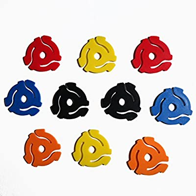 "(10 Pack) TEN Mixed Color Plastic 45 RPM 7 Inch Vinyl Record Adapter / Adaptor - 7"" Flat Inserts from 24 Hour Distribution"