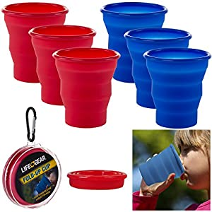 Life Gear 6 Pack 8oz Collapsible Silicone Cups & Belt Clips Travel Camping Red Blue