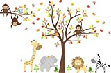Zoo Animal Wall Mural - Zoo Animals Wall Stickers - Large Animal Nursery Decals
