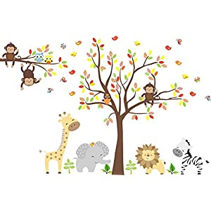 Zoo Animal Wall Mural – Zoo Animals Wall Stickers – Large Animal Nursery Decals