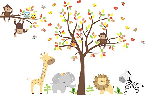Zoo Animal Wall Mural - Zoo Animals Wall Stickers - Large Animal Nursery - Priority Mail International Usps