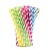 KUUQA 150PCS Paper Straws Rainbow Party Straws Striped Drinking Straws for Birthday Party, Wedding, Graduation, Party Favor Supplies