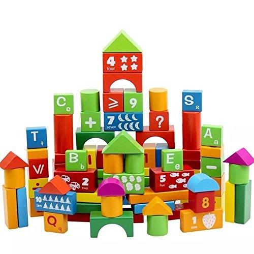 FPBS Hölzern Konstruktionsbausteine Buchstaben Bauklötze , Zahlen Buchstaben und Früchte Sperrungen für Baby- und Kinderspielzeug lehren, 100 Bilder in der Box
