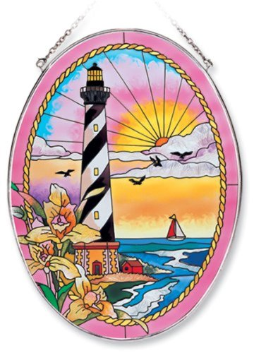 Lighthouse Suncatcher (Amia Oval Suncatcher with Cape Hatteras Lighthouse Design, Hand Painted Glass, 6-1/2-Inch by 9-Inch)