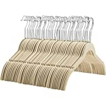 Zober - 60 Pack, Premium Quality Space Saving Velvet Shirt Hangers Strong and Durable with 360 Degree Chrome Swivel Hook - Non Slip Dress Hangers with Contoured Shoulders and Notches for Straps, Ivory