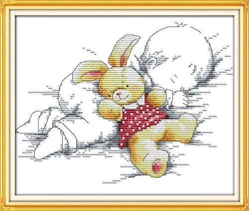 Joy Sunday® Cross Stitch Kit 11CT Stamped Embroidery Kits Precise Printed Needlework- The baby asleep 35×27CM Joy Sunday DIY Hancraft Inc C013