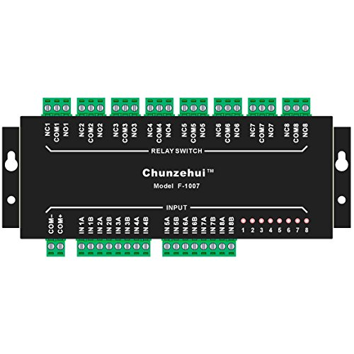 CHUNZEHUI Aluminum Enclosure Passive 8 SPDT Power Relay Module, AC or DC 24V, Wall-mount or DIN rail - Box Rail Mount Din