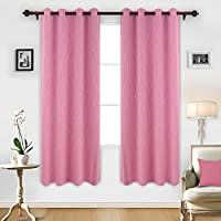 Deconovo Printed Pink Blackout Curtains Wave Line with...