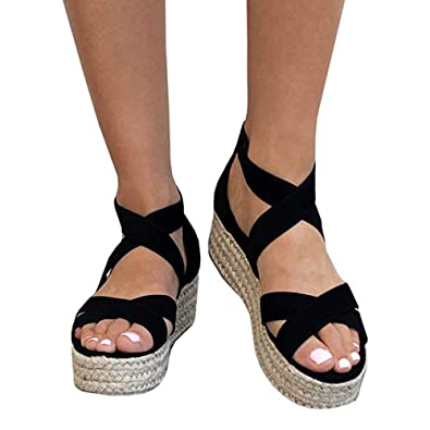 1b4d27346a1 Athlefit Women s Criss Cross Strap Platform Sandals Band Open Toe Ankle  Buckle Espadrille Sandals Size 5.5