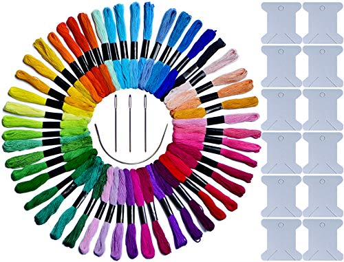 LE PAON 50 Skeins Embroidery Floss & Embroidery Thread of 100% Long-Staple Cotton Cross Stitch Threads Friendship Bracelet String Craft Floss with with Free 16pcs Embroidery Tools ()