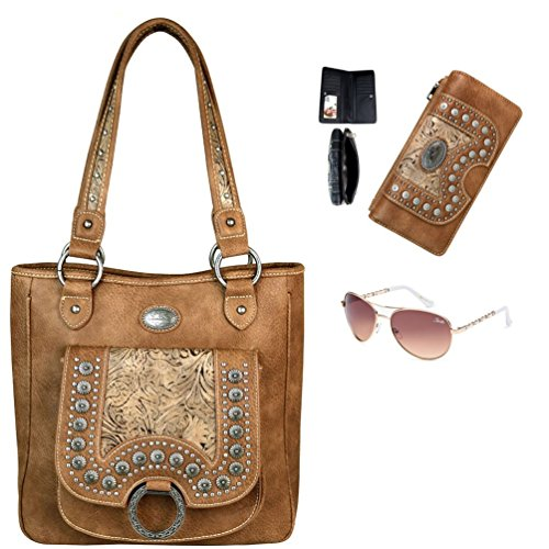 Concho Collection (Montana West Concho Collection Concealed Handgun Tote with Matching Wallet & Giselle Designer Sunglasses (Set of 3) (Lt.)