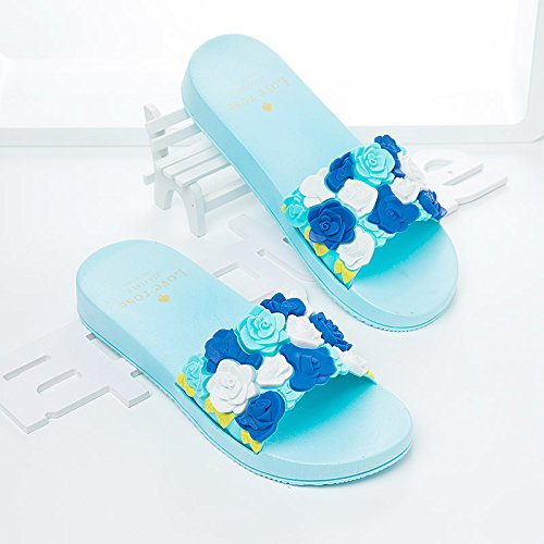 Piso Baño Zapatillas Fresco Zapatillas con Temporadas Antideslizante Azul Suave Planas A 39 Interior Antideslizante luz permanezca Verano Sandalias fankou Baño Dormitorio wqv1t