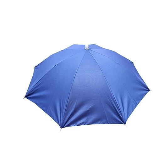 b4bc95969e0 Amazon.com  Sun Hats Foldable Novelty Umbrella Hat Golf Fishing Camping  Fancy Dress Multicolor Outdoor Hats (Blue)  Clothing