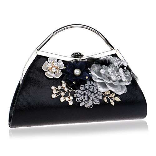 Bags Handmade Style KYS Evening Flower Evening Bags Clutches Fashion Lady Feather Purse Leaf Women Black Diamonds Beaded wwzvZgUq