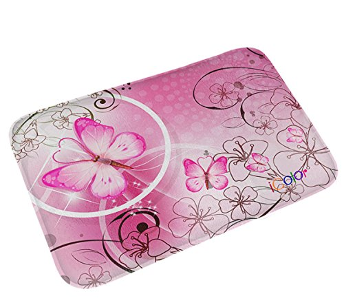 Butterfly Garden Rug (iColor Carpets Floor Mat/Cover Floor Rug Indoor/Outdoor Area Rugs,Washable Garden Office Door Mat,Kitchen Dining Living Hallway Bathroom Pet Entry Rugs with Non Slip Backing (Pink Butterfly))