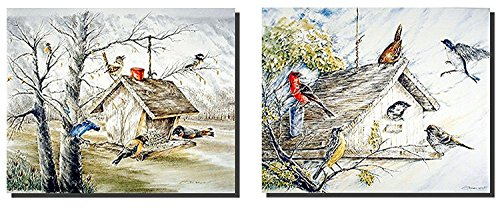 Gallery Feeder - Impact Posters Gallery Bluebirds At Birdhouse And Wild Birds At Feeder House Two Set Wall Decor Art Print Picture (8x10)
