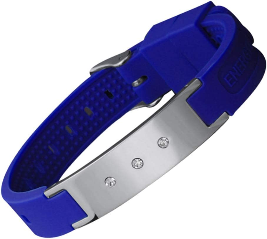 HOUXIAONI Moda Hipster Pulsera De Silicona De Acero Inoxidable Pulsera De Pareja Pulsera Deportiva Pulsera Ajustable Azul,Blue-OneSize