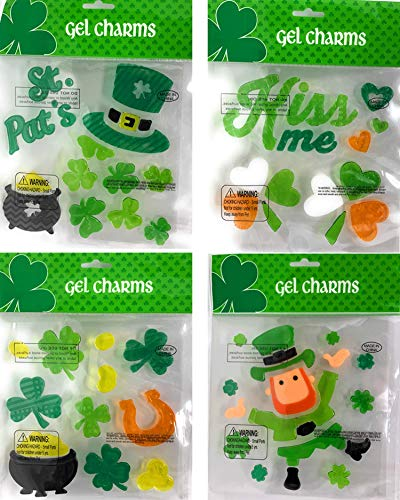 St. Patricks Day Window Gel Stickers Clings Charms Decorations Clovers Pot Gold Leprechaun