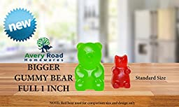 BIGGER Gummy Bear Mold Silicone 3 PACK - 3 DROPPERS + RECIPE PDF ~ LARGE LFGB FDA Gummy Bears molds non BPA Candy Molds - BIG 1 Inch Gummie Bears Ice Cube Chocolate Gelatin Trays Set