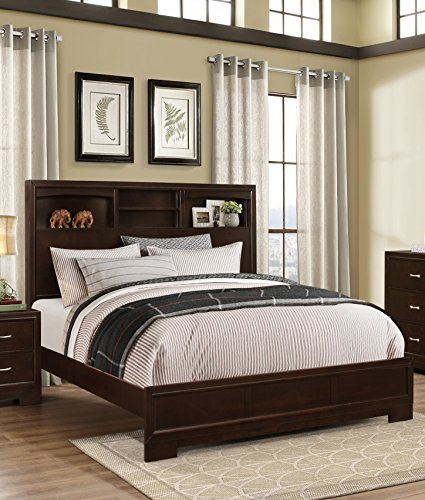 Roundhill Furniture Montana Modern Wood Bookcase Bed, Queen, Walnut