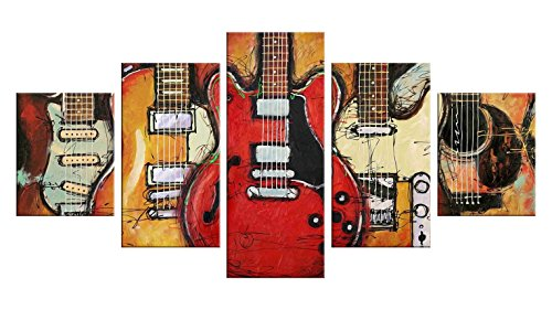 Guitars 5 Pieces Canvas Wall Art - Oil Painting Printed Wall Decor ...