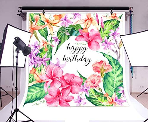 8x12 FT Floral Vinyl Photography Backdrop,Exotic Hibiscus Flowers Frame Flourishing Blooms Ornamental Floral Inspired Design Background for Baby Birthday Party Wedding Studio Props Photography