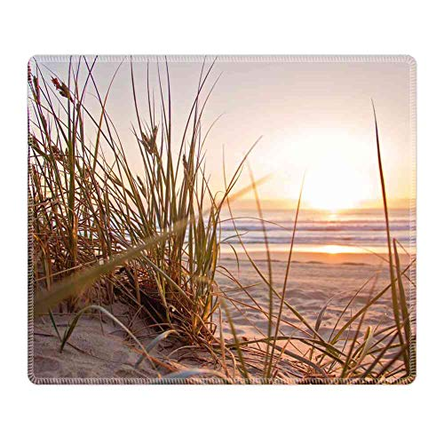 Mouse Pad Large Mousepad for Gaming Green Grass on Sand Overlooking Body of Water Rectangle Rubber Cloth Mat (26CM x 21CM x 3MM) for Computer Laptop MacBook