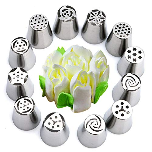 Nona7654 Cupcake Topper Set 15Pcs/Set Russian Tulip Flower Icing Piping Nozzles Cake Decorating Tool Cupcake Cream Pastry Bakeware Product for Kitchen