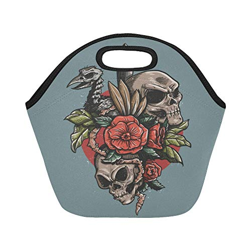 Insulated Neoprene Lunch Bag Red Roses And Skulls Vintage Illustration Large Size Reusable Thermal Thick Lunch Tote Bags For Lunch Boxes For Outdoors,work, Office, School ()