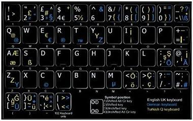 Teclas autoadhesivas con teclado turco + English UK + German