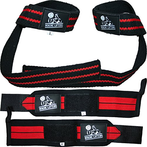 Nordic Lifting Lifting Wrist Wraps Bundle, (2 Pairs) - Black/Red