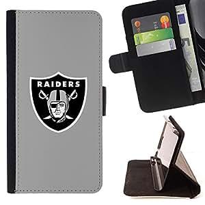 - Raiders Gray - - Prima caja de la PU billetera de cuero con ranuras para tarjetas, efectivo desmontable correa para l Funny HouseFOR Samsung Galaxy S6