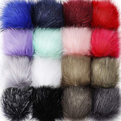 Tatuo Faux Fur Pom Pom Ball DIY Fur Pom Poms for Hats Shoes Scarves Bag Pompoms Keychain Charms Knitting Hat Accessories (Colorful, -