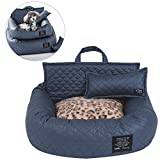 Petacc 3-in-1 Portable In-vehicle Pet Bed Foldable In-vehicle Pet Lounge Ultra Soft Pet Sofa with Blanket - Pillow and Bed - Suitable for Small and Medium-sized dog