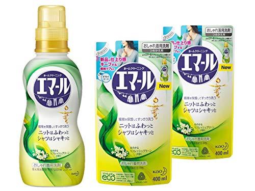 【まとめ買い】エマール 洗濯洗剤 液体 おしゃれ着用 本体 500ml +つめかえ用400ml 2袋 リフレッシュグリーンの香り