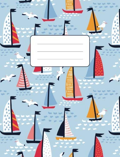 """Composition Notebook: Sailing Boat Seagull Pattern: 100 Pages of 7.5"""" x 9.75"""" College Ruled Lined Paper, Matte Cover (Journal, Diary, Planner, Notes) (Sailing Journal Notebook) by Atlas Notebooks"""