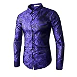 MAGE MALE Men's Luxury Dress Shirt Casual Long Sleeve Camouflage Fitted Wrinkle Free Shirt (246-Blue, 2XL)