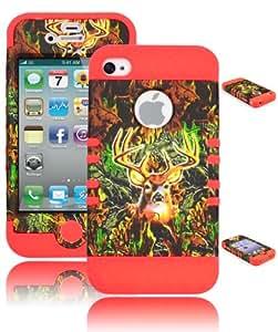 Bastex Heavy Duty Hybrid Case for iPhone 4, 4th Generation - Orange Silicone / Green Deer Camo Hard Shell